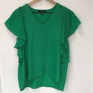 Boutique Brand Ruffle Flutter Sleeve Green Blouse